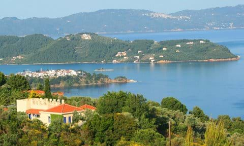 Typically N.Aegean 'Orchard Villa' ... with Skiathos village/port, Cape Punta, and Skopelos island