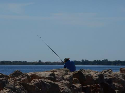 Fishing off the rocks by the local marina