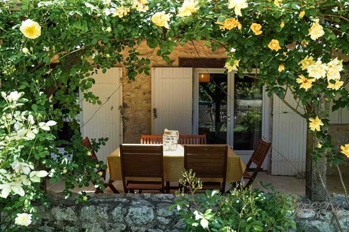 View of the veranda through the roses.