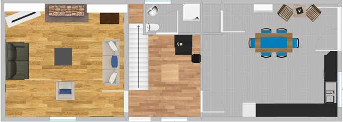 Ground floor plan drawing room, hall, shower room, kitchen/dining room