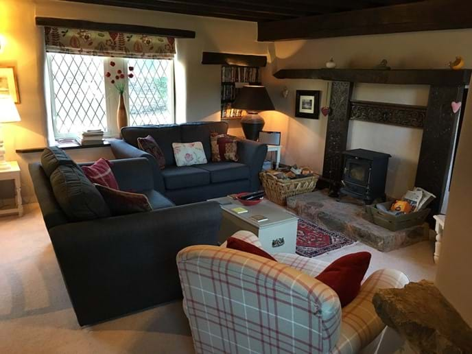 Mill Cottage sitting room and woodburner