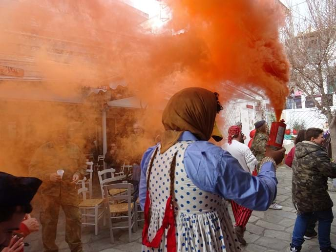 Feb 2018 - Carnival in Glossa is a raucous affair; plenty of fancy dress, a decorated fishing boat carried up to Central Square, orange smoke distress flares, air horns, firecrackers, souvlakis, wine and of course traditional dancing.