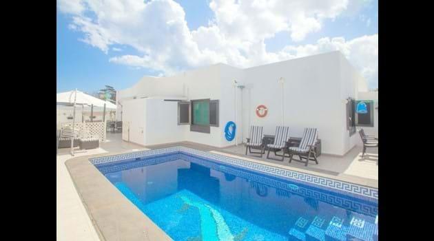 Sofa overlooks the pool