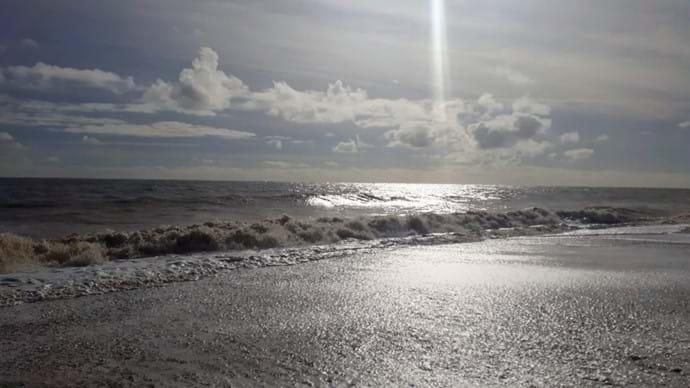 Sunbeam on the sea at Pakefield
