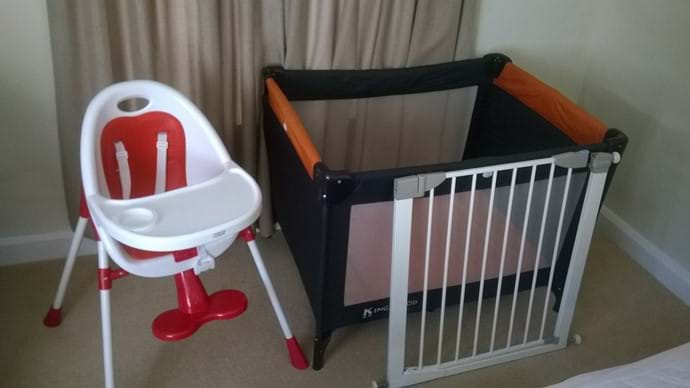 HighChair Cot and 2 Stair gates