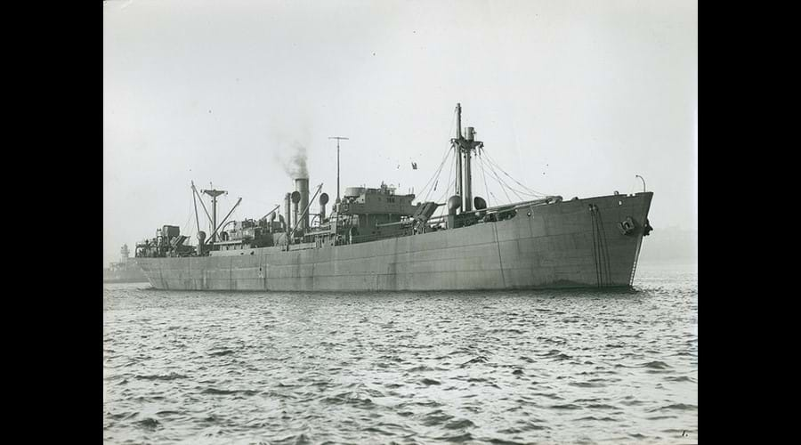 Sea trials of the cargo ship 'Empire Halley', built by J.L. Thompson & Sons, North Sands, Sunderland, c1941. This style of vessel developed by the shipyard was the forebear of the Liberty ships built by the United States Government from 1942 to 1945 (TWAM