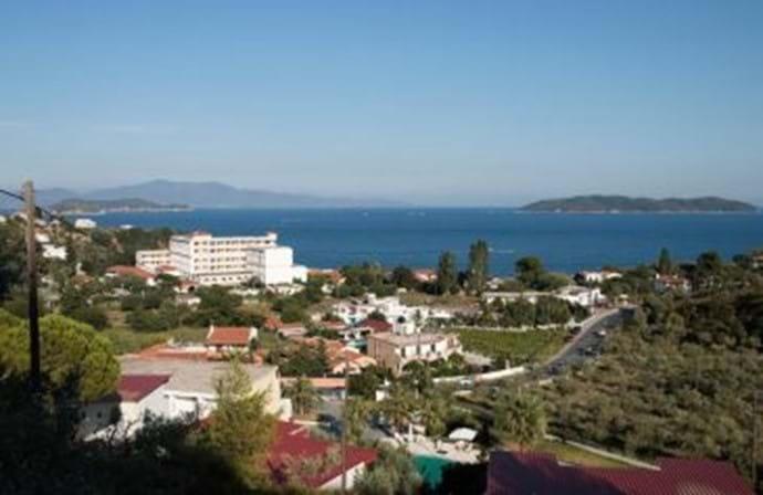 Achladies Hotel and beach view (below Katsaros, Skiathos)