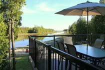Dining outdoors on the front deck is a wonderful way of enjoying time together with family and friends.