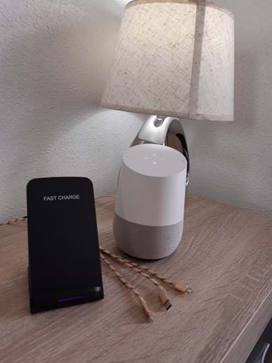 Master bedroom - Google Home and mobile phone charging facilities