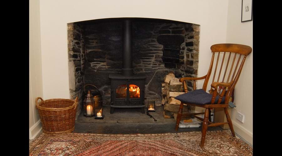 Cosy wood burner in the middle sitting room