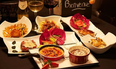 French meal with wine