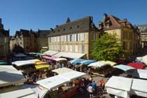 View of the famous Sarlat Market on Place de la Liberté from the apartment