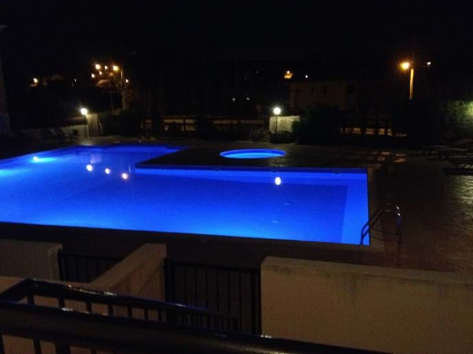 The pool after dark.