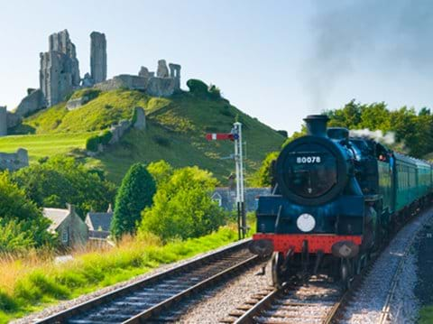 Steam to famous Corfe Castle on the Swanage Railway