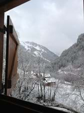 View south from living room, with Linga ski area visible in centre of picture