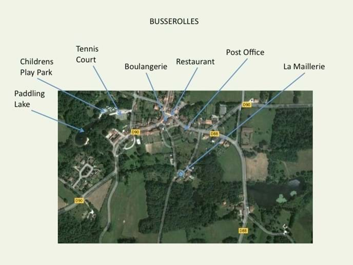 Busserolles Village showing walking tracks and access roads