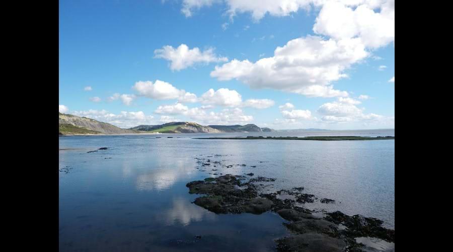 View across Lyme bay towards Charmouth, West Bay, Burton Bradstock, Abbotsbury, Dorset