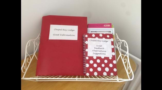 Chapel Bay Lodge guest information folder, maps and leaflets