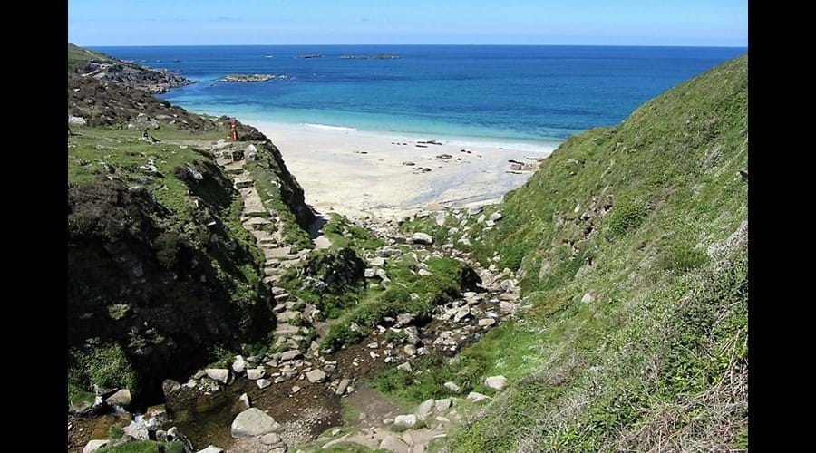 Portheras Cove-a lovely beach on a strenuous section of coast path