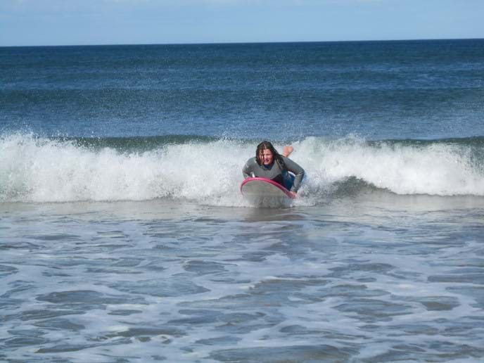 Body boarding on the Northumberland coast