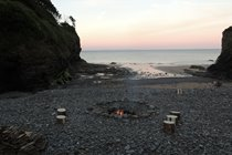 Fire ready for roasting marshmallows on our beach