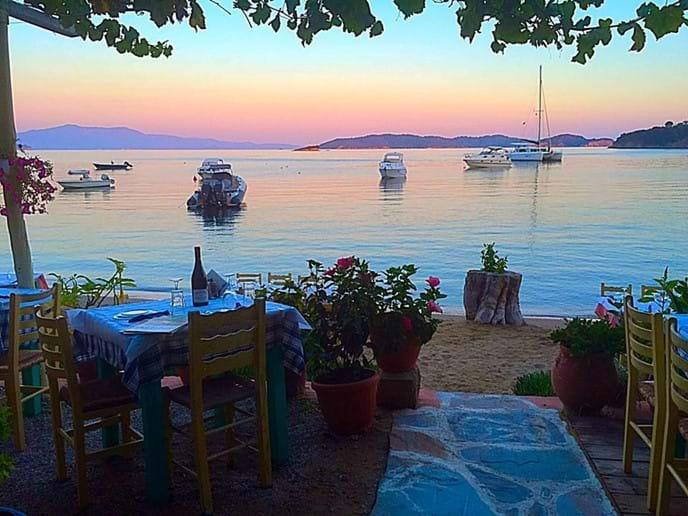 Sklithri Taverna and beach (below Katsaros, Skiathos)