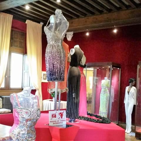 Display of clothing worn by singer Josephine Baker inside Chateau Milandes