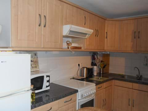Kitchen with large fridge/freezer, gas and electric cooker, microwave and washing machine