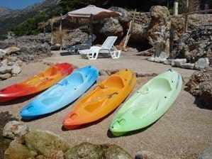 Sea kayaks are for rent