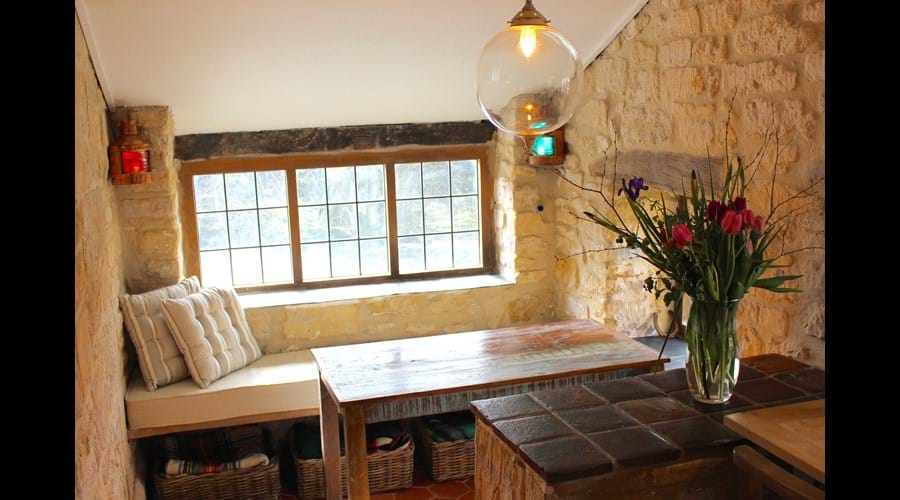 Seating off the main dining room overlooking the Mill weir