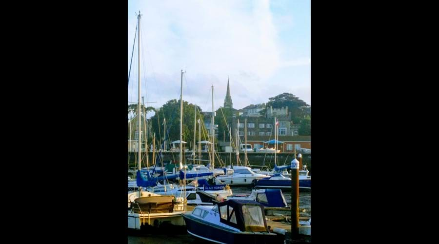 Ryde Harbour.  Our house is to the left of the spire - handy if you get lost walking around town.