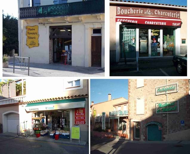 Some of the other charming village shops in Laroque des Alberes - The specialist food shop, the butcher, the local supermarket and the pharmacy.