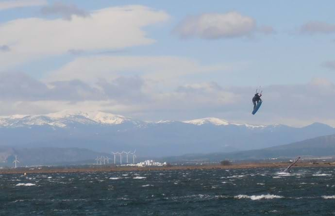 Kitesurfing in April on the nearby lagoon