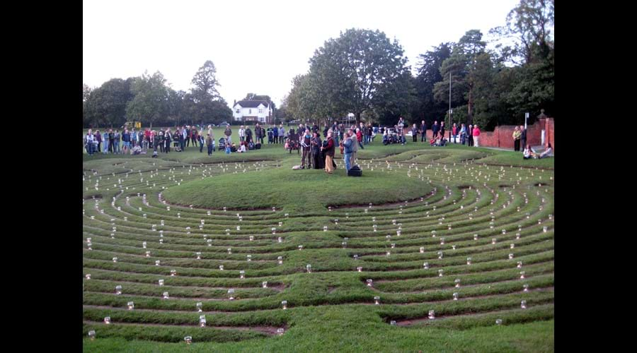 Ancient Turf Maze - last night of Maze Festival