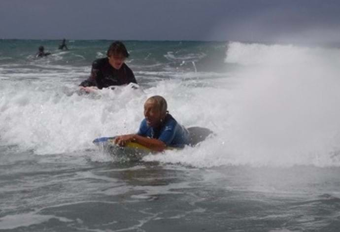 Body Boarding and Surfing from nearby Praa Sands