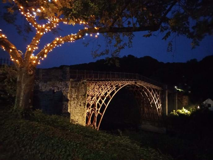 THE IRON BRIDGE IS LIT UP IN THE EVENINGS