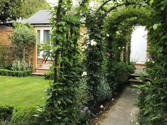 Pergola walkway to The Garden House entrance