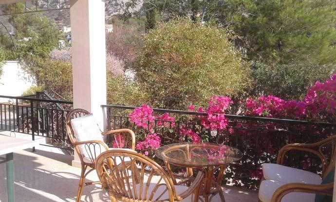 Sitting area overlooking the vinyeards