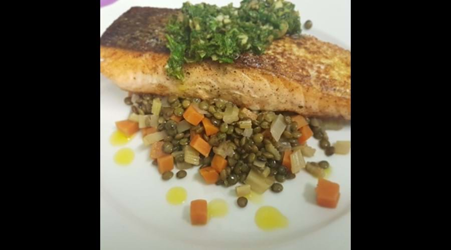 Pan fried Salmon with Salsa verde