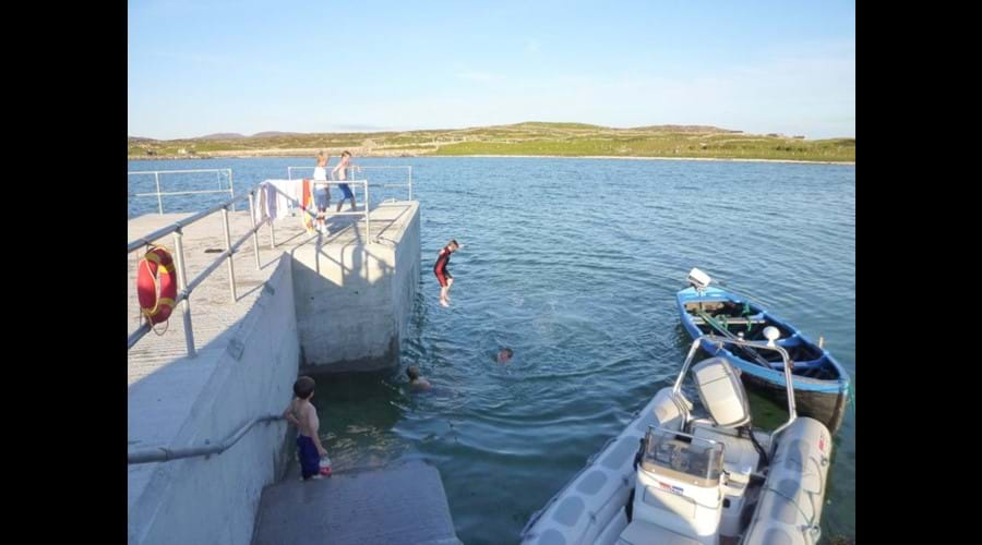 Moyrus Pier Jumping at high tide (Tide clock at house)