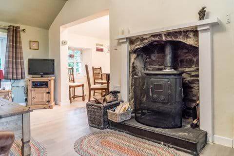 The wood burning stove provides fabulous extra heat