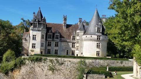 In front of the renaissance Puyguilham castle