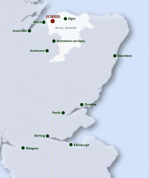 Forres is well-situated for the splendour of the Scottish Highlands and Moray Firth