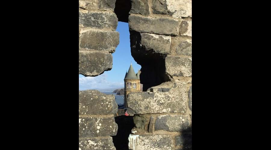 Aberystwyth university through the castle ruins.