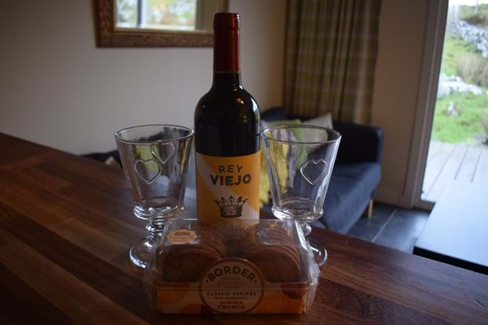 Wine and biscuits from our local shop