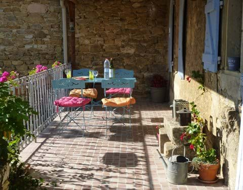 large balcony in our stone gite