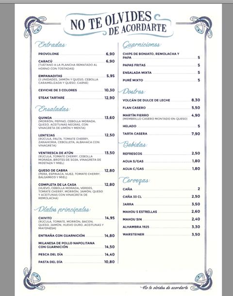 No Te Olvides de Acordarte (Uraguan) menu