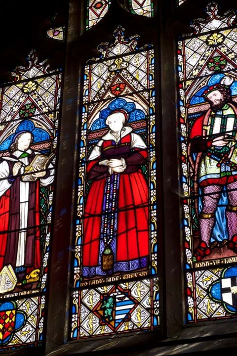 Stained glass window in chapel of Sudeley Castle