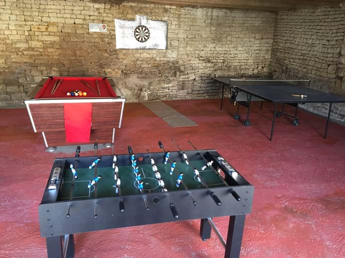games room with full size pool table, full size table tennis table and table football