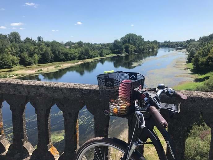 Bicycle on bridge over the Dordogne River.